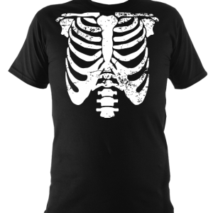 Black skeleton t-shirt, white ribs