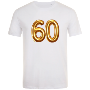 60th birthday balloon t-shirt white