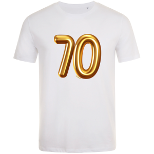 70th birthday balloon t-shirt white
