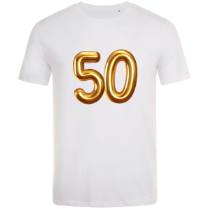 50th birthday balloon t-shirt white