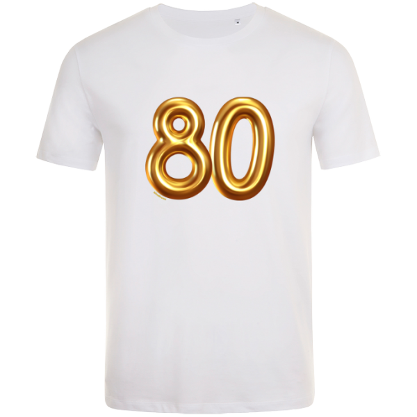 80th birthday balloon t-shirt white