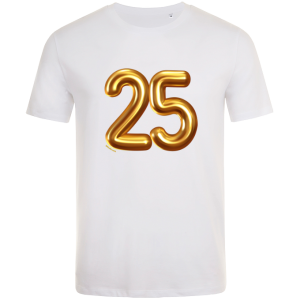 25th birthday balloon t-shirt white