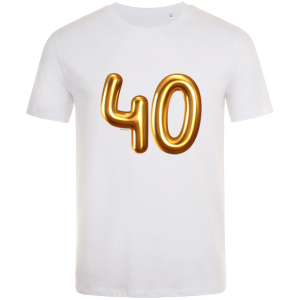 40th birthday balloon t-shirt white