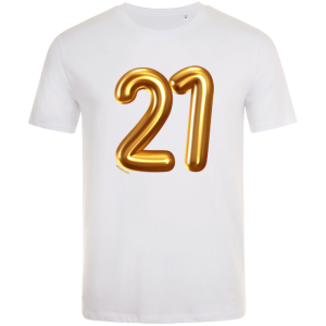 21st birthday balloon t-shirt white